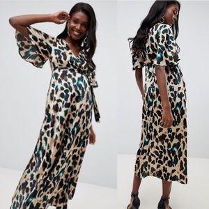 ASOS Queen Bee Leopard Wrap Maxi Dress